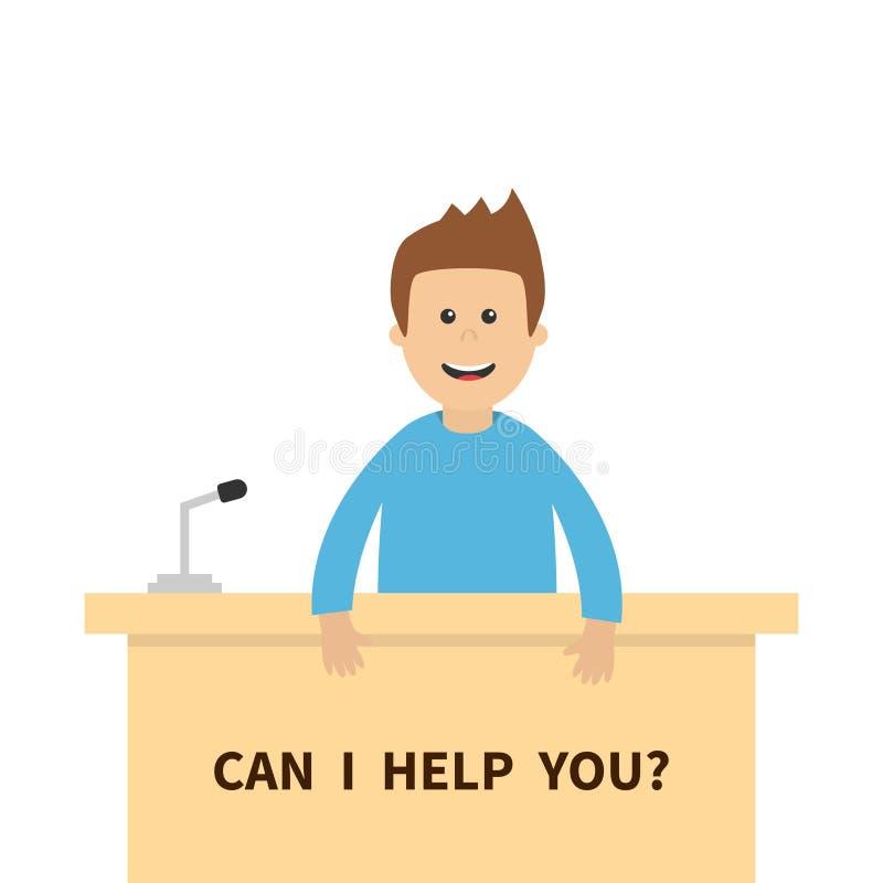 Puedo le ayudo Consultor masculino de la gente de los hombres Micrófono del contador del mostrador de información de la tabla ser ilustración del vector