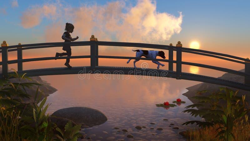Puente 2A1 del jardín stock de ilustración