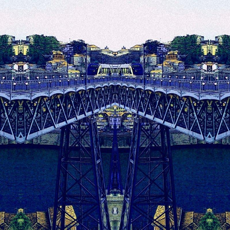Puente abstracto de Oporto con color azul ilustración del vector
