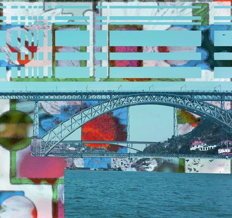 Puente abstracto de Oporto con color azul stock de ilustración