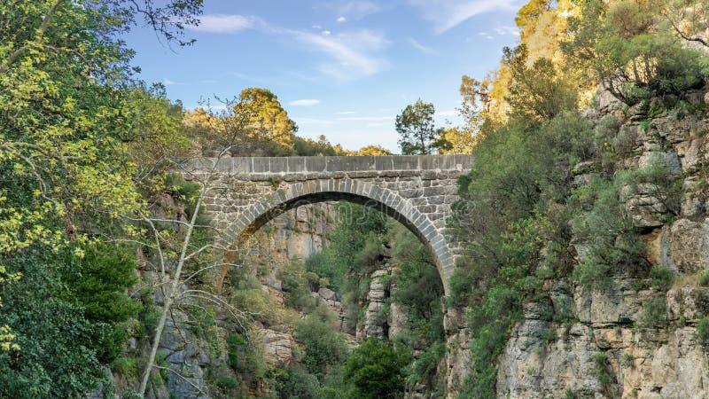Puente antiguo de Oluk a trav?s de la cala de Kopru Irmagi en el parque nacional de Koprulu Kanyon en Turqu?a imágenes de archivo libres de regalías