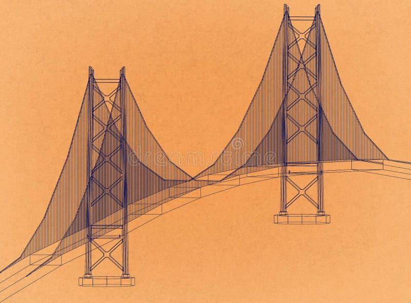Puente - arquitecto retro Blueprint ilustración del vector