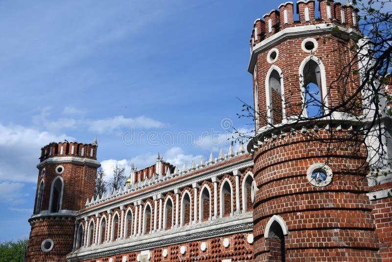 Puente calculado Arquitectura del parque de Tsaritsyno en Mosc? Foto de color imagen de archivo libre de regalías