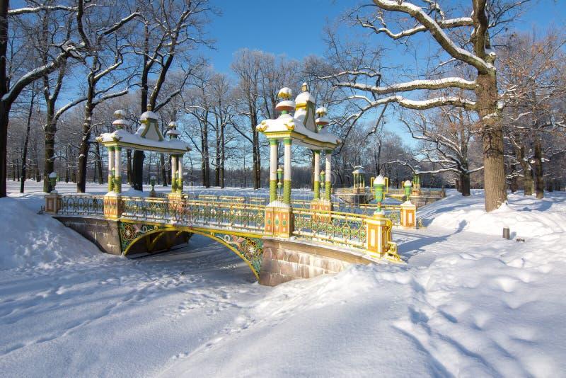 Puente chino en el parque de Alexander en el invierno, Tsarskoe Selo, St Petersburg, Rusia fotos de archivo libres de regalías