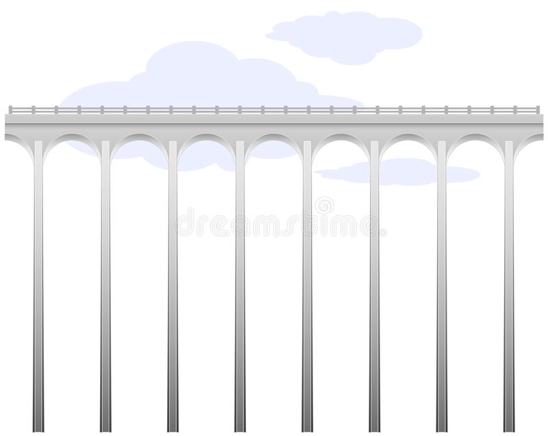 Puente a cielo abierto del hormigón del arco Infraestructura de transporte Conexión de los bancos Sobre el abismo Trayectoria pel stock de ilustración