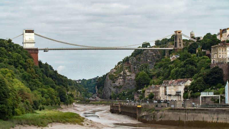 Puente colgante de Clifton, la señal de la ciudad de Bristol foto de archivo libre de regalías