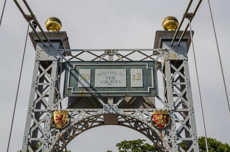 Puente colgante del parque del Queens en Chester imagen de archivo