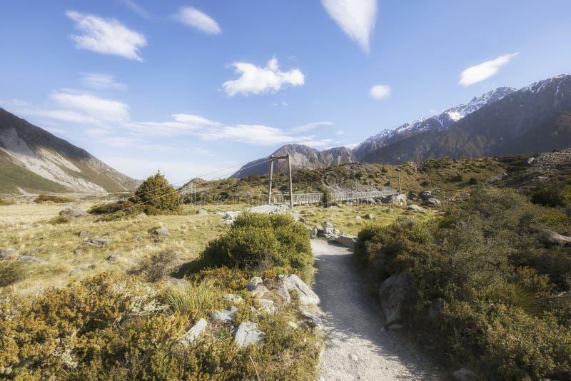 Puente colgante en la pista del valle de la puta, cocinero National Park, Nueva Zelanda del Mt foto de archivo libre de regalías