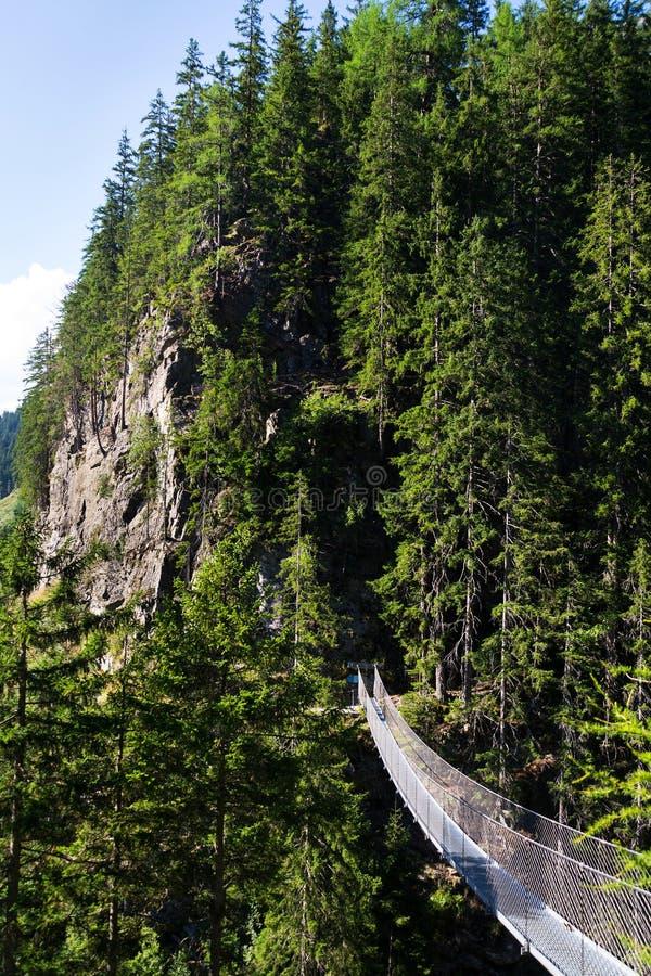Puente colgante en rastro alpino a través de la garganta del infierno, Schladming, Austria fotos de archivo libres de regalías