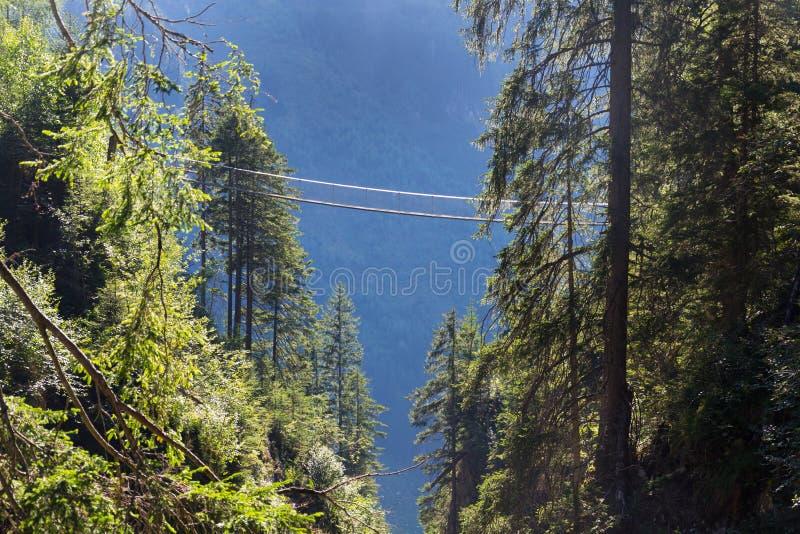 Puente colgante en rastro alpino a través de la garganta del infierno, Schladming, Austria imagen de archivo libre de regalías
