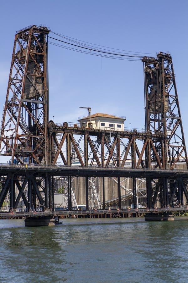 Puente de acero de Portland Oregon con el cielo azul fotografía de archivo
