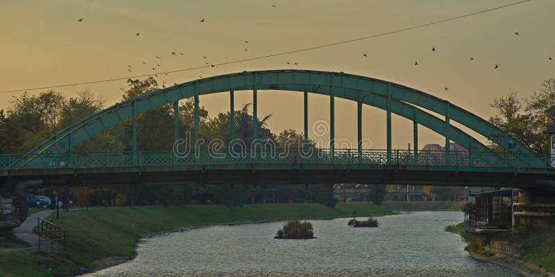 Puente de acero que cruza el r?o de Begej en Zrenjanin, Serbia imágenes de archivo libres de regalías