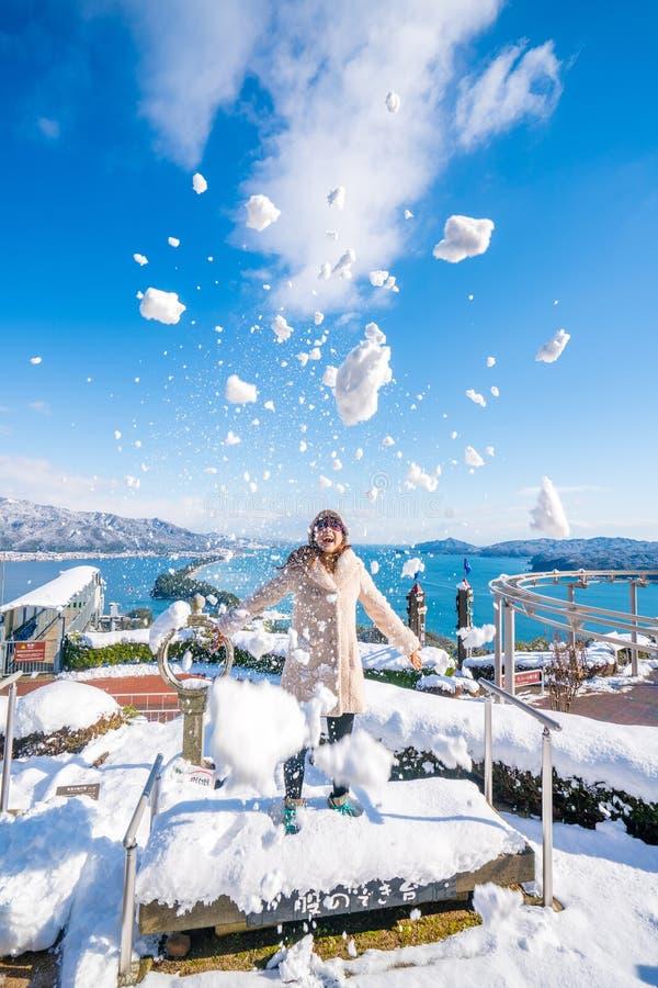 Puente de Amanohashidate al punto de vista del cielo en invierno fotografía de archivo libre de regalías