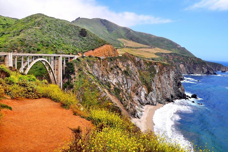 Puente de Bixby a lo largo de la carretera de la Costa del Pacífico en California imagen de archivo libre de regalías