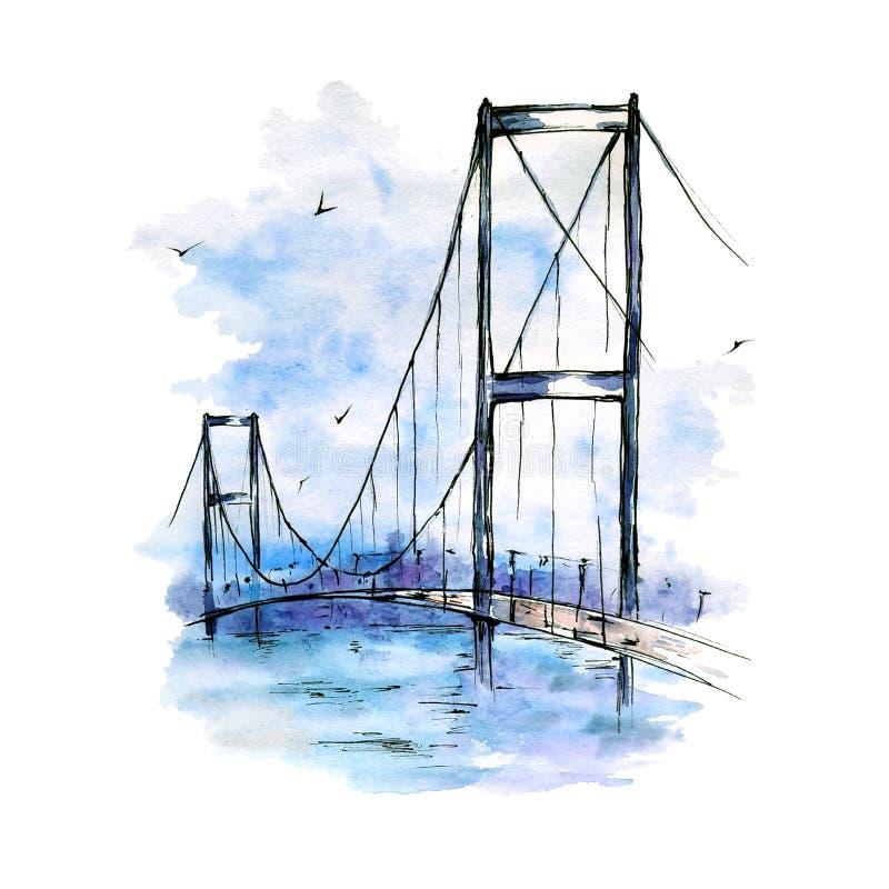 Puente de Bosphorus, Estambul, Turqu?a Bosquejo de la acuarela y de la tinta en el fondo blanco ilustración del vector