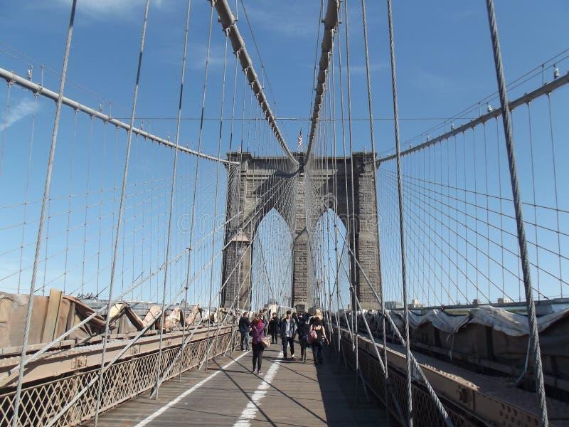 Puente de Brooklyn Nueva York sin ocupado imagen de archivo libre de regalías