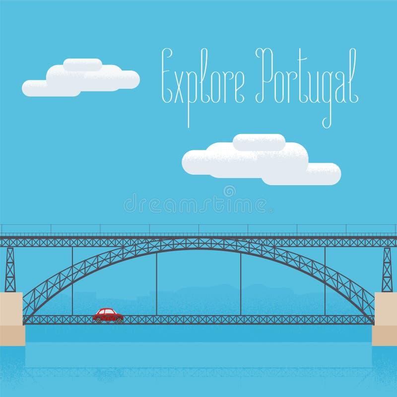 Puente de Dom Luis en ejemplo del vector de Oporto, Portugal ilustración del vector
