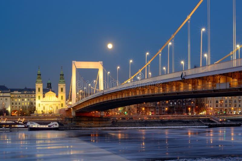 Puente de Elisabeth en Budapest debajo de la luna, opinión de la noche imagen de archivo libre de regalías