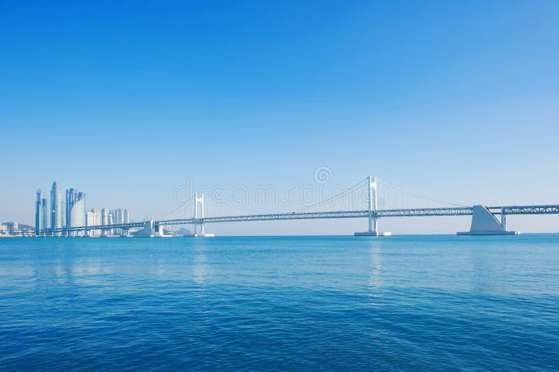 Puente de Gwangan y barco de la velocidad en Busán fotos de archivo libres de regalías