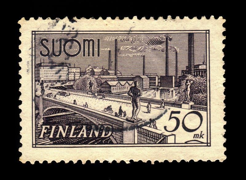 Puente de Hameensilta sobre el río de Tammerkoski en Tampere, Finlandia imágenes de archivo libres de regalías