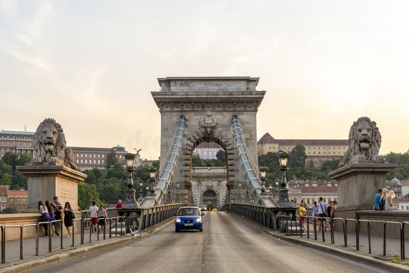 Puente de la cadena Szechenyi, Budapest, Hungría fotos de archivo