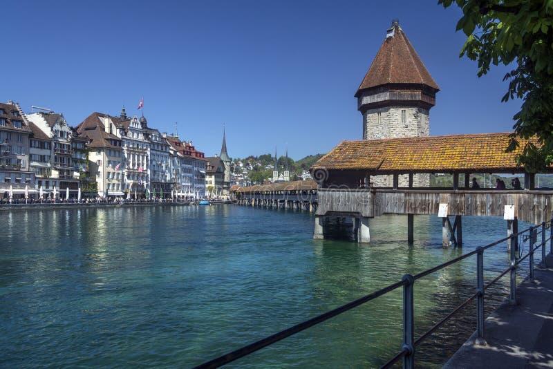 Puente de la capilla - Alfalfa - Suiza fotos de archivo libres de regalías