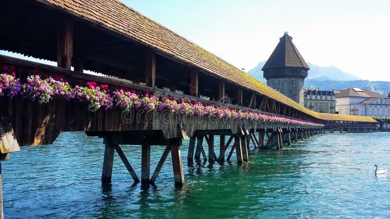 Puente de la capilla de Lucerne's imágenes de archivo libres de regalías