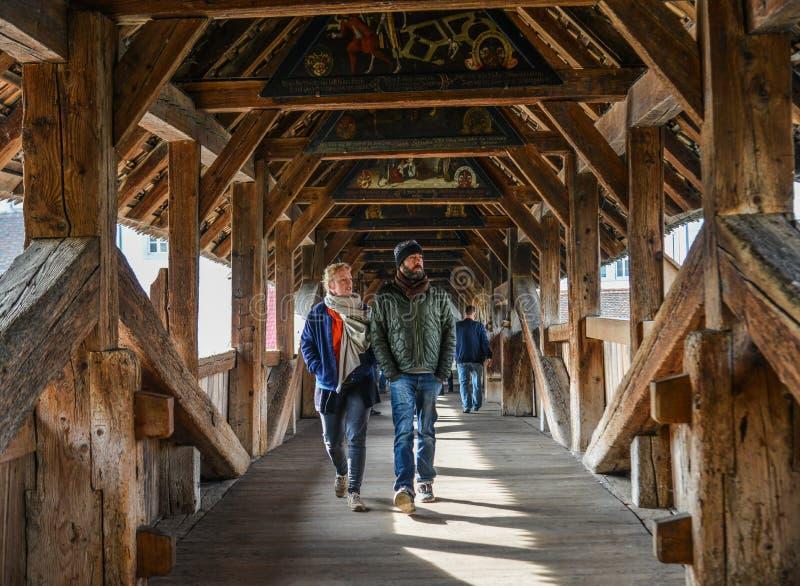 Puente de la capilla en Lucerna fotografía de archivo
