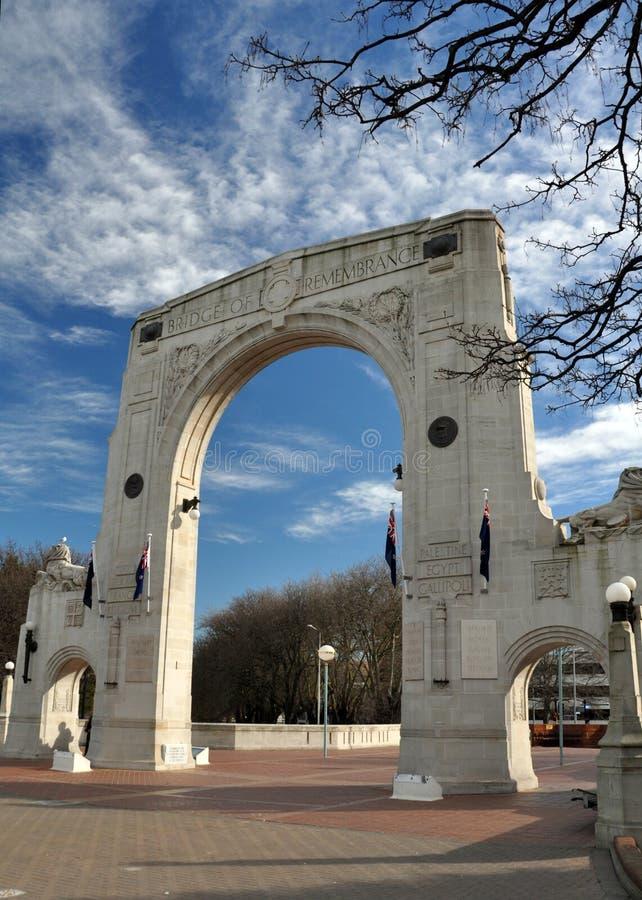 Puente de la conmemoración, Christchurch Nueva Zelandia fotos de archivo