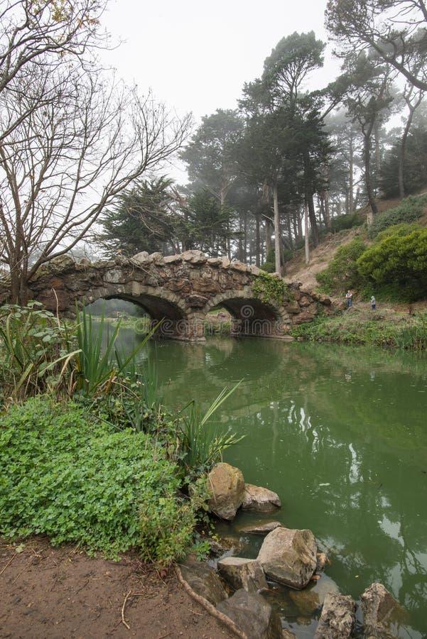 Puente de la piedra del lago stow y árboles muertos en el parque de Golden State, San Francisco en una mañana de niebla del invie fotografía de archivo