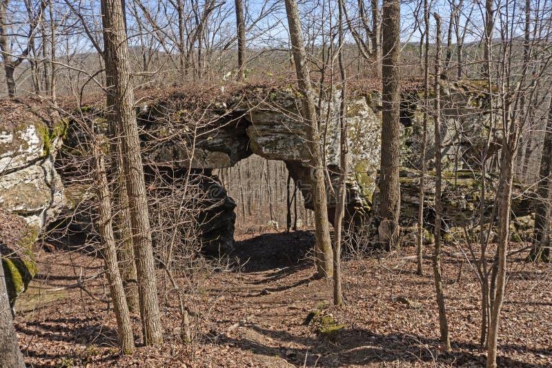 Puente de la roca en el bosque fotos de archivo libres de regalías