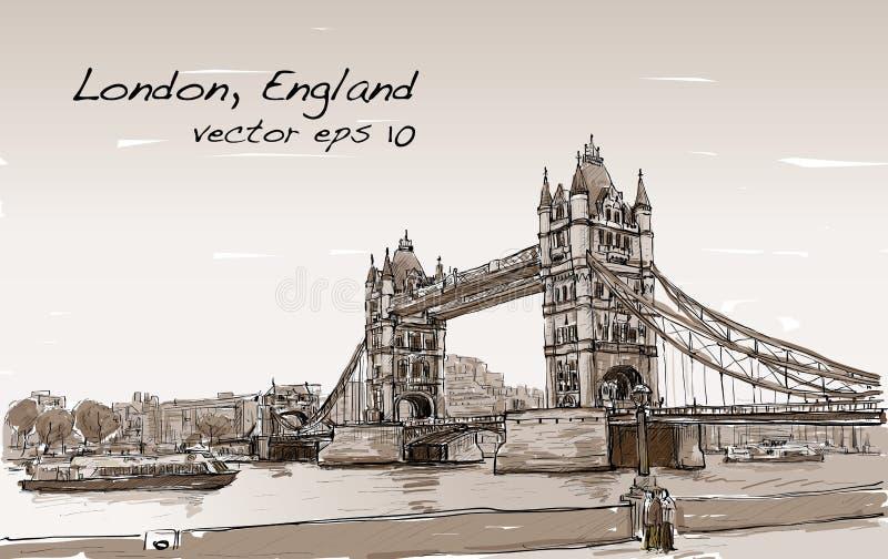 Puente de la torre del bosquejo del dibujo del paisaje urbano, Londres, Inglaterra en sepia stock de ilustración