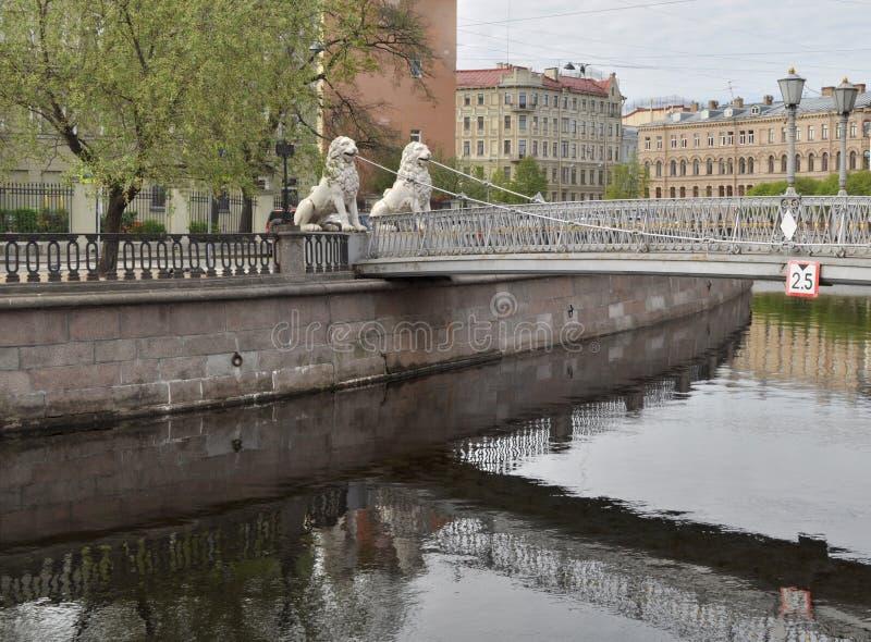 Puente de Lviny (leones), St Petersburg imagen de archivo