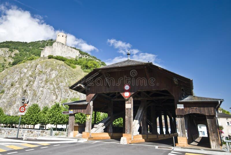 Puente de madera de Martigny imagenes de archivo