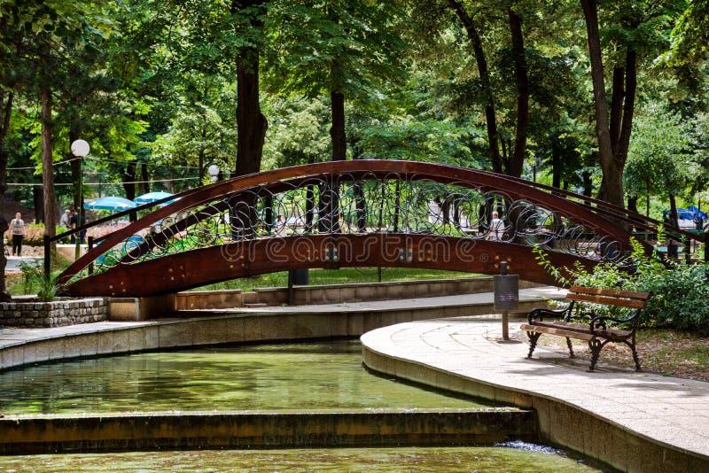 Puente de madera del vintage en parque grande del balneario en naturaleza fotos de archivo
