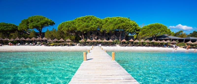 Puente de madera en la playa de Santa Giulia, Córcega, Francia, Europa imágenes de archivo libres de regalías