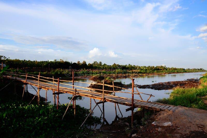 Puente de madera en la provincia de Ben Tre, delta del Mekong fotografía de archivo