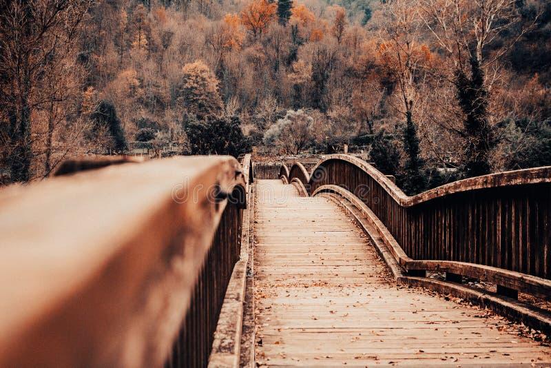 Puente de madera en un paisaje del otoño fotografía de archivo