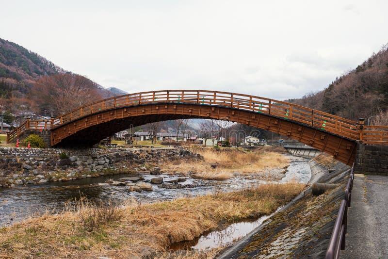 Puente de madera de Narai-juku, valle de Kiso imagen de archivo