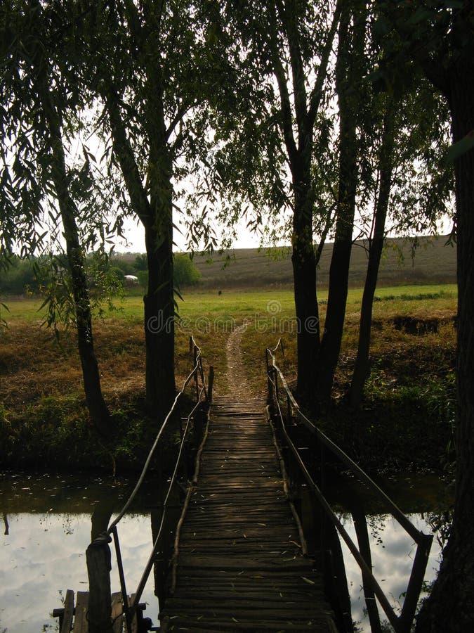 Puente de madera rústico en la puesta del sol fotografía de archivo libre de regalías