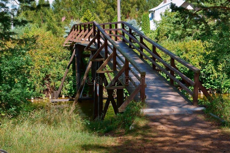Puente de madera sobre la corriente en el bosque, puente decorativo de madera para los turistas fotos de archivo