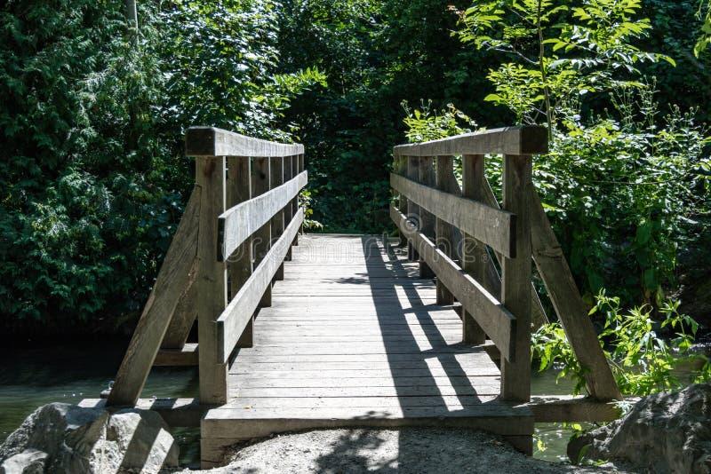 Puente de madera a través de una corriente frondosa imagen de archivo libre de regalías