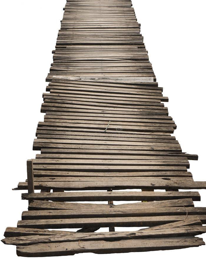 Puente de madera viejo aislado en el fondo blanco imagen de archivo