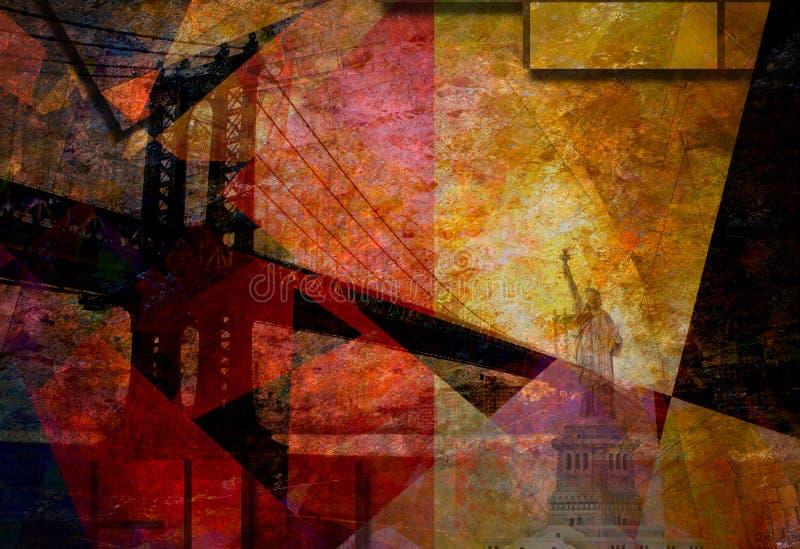Puente de Manhattan Painterly stock de ilustración