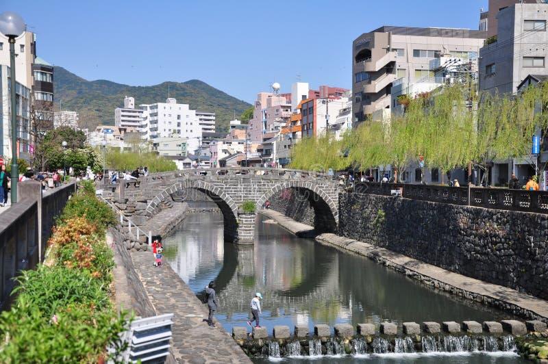Puente de Megane o puente de las gafas en Nagasaki, Kyushu, Japón foto de archivo libre de regalías