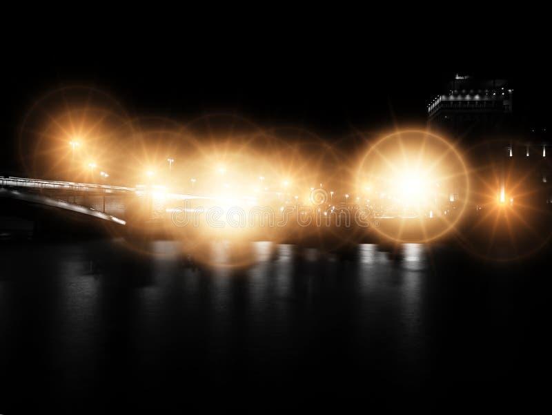 Puente de Moscú de la noche con el contexto dramático del relámpago fotografía de archivo libre de regalías