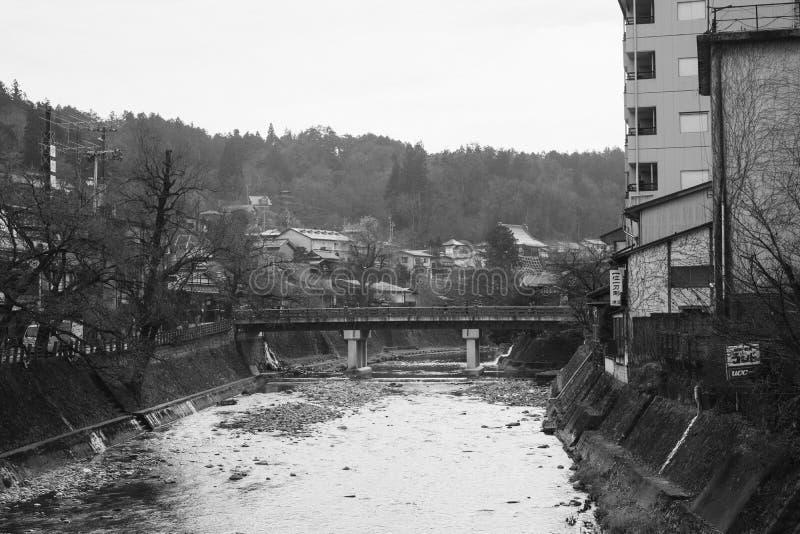 Puente de Nakabashi en foto blanco y negro fotografía de archivo