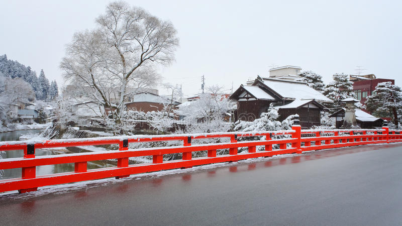 Puente de Nakabashi en Takayama fotografía de archivo
