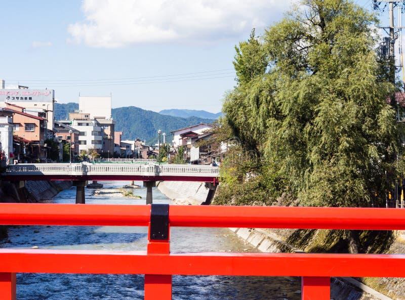 Puente de Nakabashi en Takayama, Japón fotografía de archivo