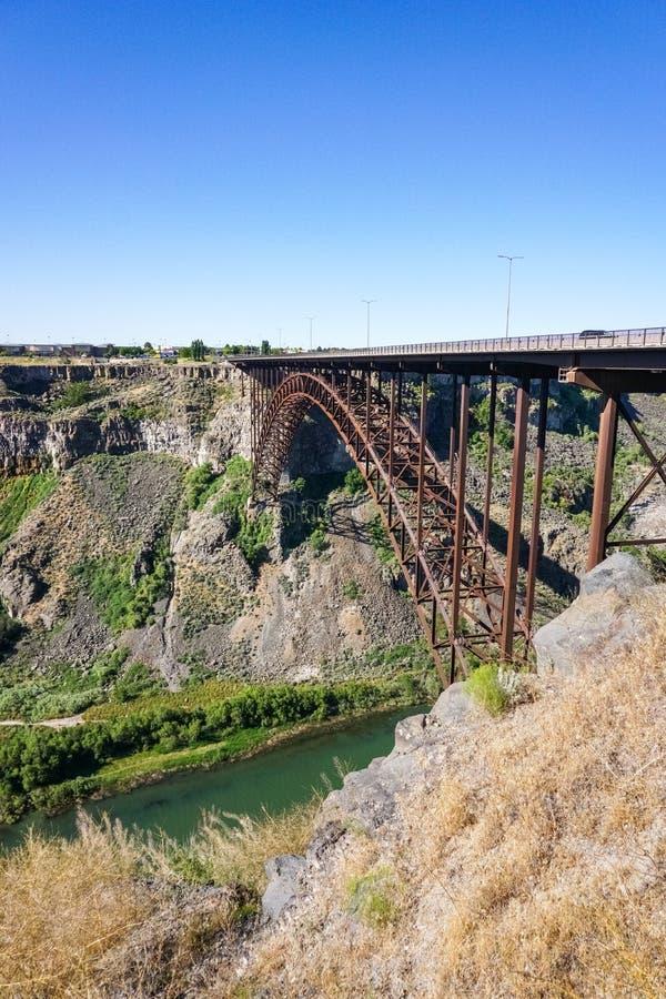 Puente de Perrine sobre el barranco del río Snake, Twin Falls, Idaho foto de archivo libre de regalías